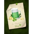 Mug Of Green Beer For St Patricks Day vector image vector image