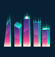 neon multistorey buildings cartoon vector image vector image