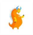 Orange Fat Childish Monster With Blue Horns vector image vector image