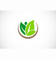 organic green leaf nature logo vector image