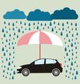 pink umbrella protecting car against rain flat vector image vector image