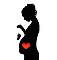 Pregnant girl with shoes and red heart vector image vector image