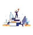 reading concept people read books creative vector image vector image