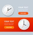 realistic detailed 3d clock banner horizontal set vector image vector image