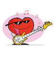 Red Heart Guy Playing A Guitar And Singing vector image vector image