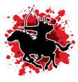 samurai warrior with bow riding horse vector image