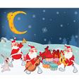 Santa Claus Music Band and Christmas Gifts vector image