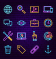 seo neon icons vector image vector image