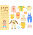 set of baby clothes isolated on white background vector image