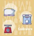 set of kitchen cookware utensils vector image