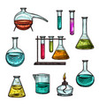 sketch ion chemical beakers test vials vector image vector image