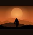 soldier against sunset landscape vector image vector image