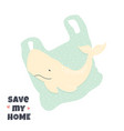 stop ocean pollution banner with a cute whale vector image vector image