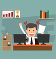 successful businessman happy sitting on desk and vector image vector image