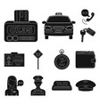 taxi service black icons in set collection for vector image