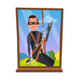 thief and window breaking into house vector image vector image
