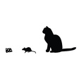 Mouse cat cheese silhouette vector image