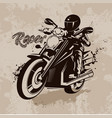racer on motorcycle in grunge vector image