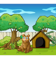 A bear sitting inside the fence vector image vector image