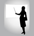 a woman pointing a whiteboard vector image