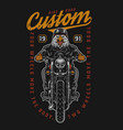 angry eagle moto rider vintage print vector image vector image