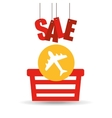 basket shopping sale ticket airplane graphic vector image