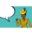 black afro woman pop art drink tea vector image