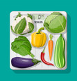 body scales and fresh vegetables icons vector image