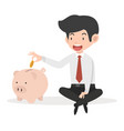 business man putting coin a piggy bank concept vector image vector image