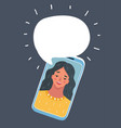 cartoon of phone conversation vector image vector image