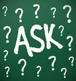 Chalkboard with question marks vector image vector image