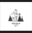 christmas greeting card with small snow covered vector image vector image