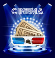 cinema tickets and 3d glasses on stage in circle vector image
