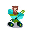 cute baby sitting in a modern baby stroller vector image