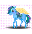 cute cartoon little blue baby horse vector image
