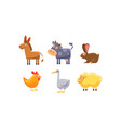 cute farm animals set donkey cow chicken vector image vector image