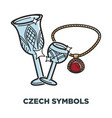 czech symbols promo poster with shyny crystal vector image vector image