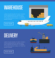 delivery and warehouse banner set vector image