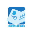 document book logo vector image vector image