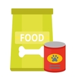 Dry dog treats in bowl and big bag of food animal vector image