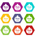eco fresh juice icons set 9 vector image vector image