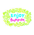 exotic design tropical floral template lettering vector image