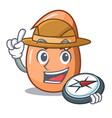 explorer shell of broken egg on the mascot vector image