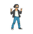 flat man showing rock sign vector image vector image