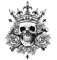 Graphic human skull with crossed bones and crown vector image