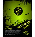 Halloween party flyer template - green vector image