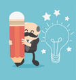 head of creative business creates pencil and idea vector image vector image