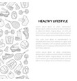 healthy lifestyle banner template sports and vector image vector image