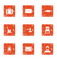 involucre icons set grunge style vector image