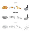 isolated object of pizza and food logo set of vector image vector image